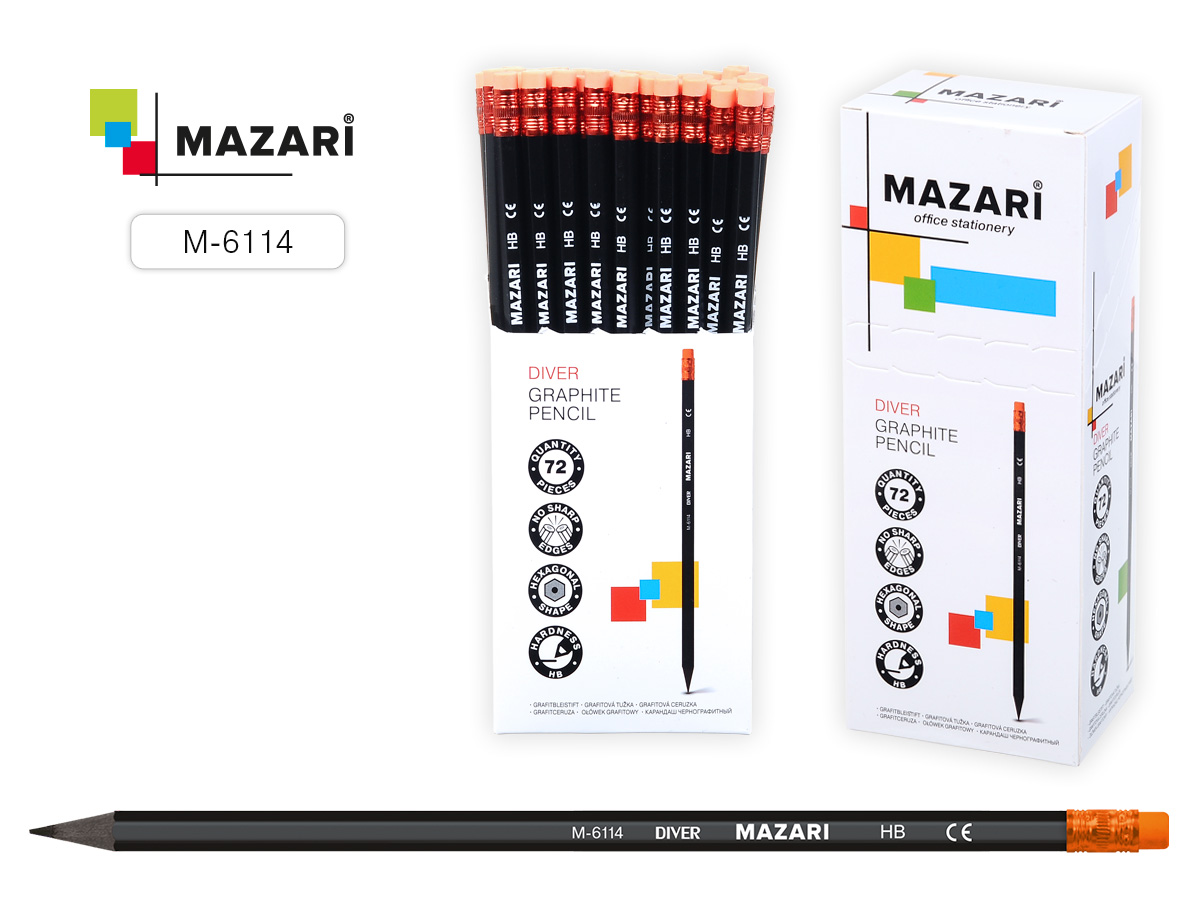 Карандаш пластиковый Mazari DIVER с ластиком
