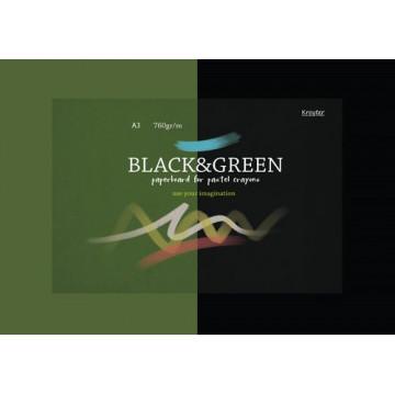 Альбом д/пастели А3 10л черн лист /зелен лист 760 гр склейка