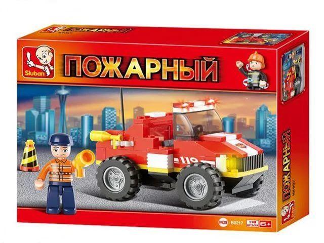 Конструктор Пожарный Джип 118 дет. пластмас.