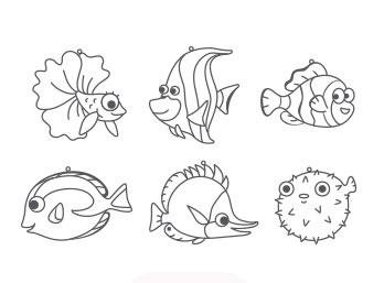 Витраж-мини 6шт Морские рыбки