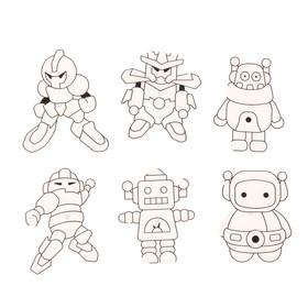 Витраж-мини 6шт Роботы