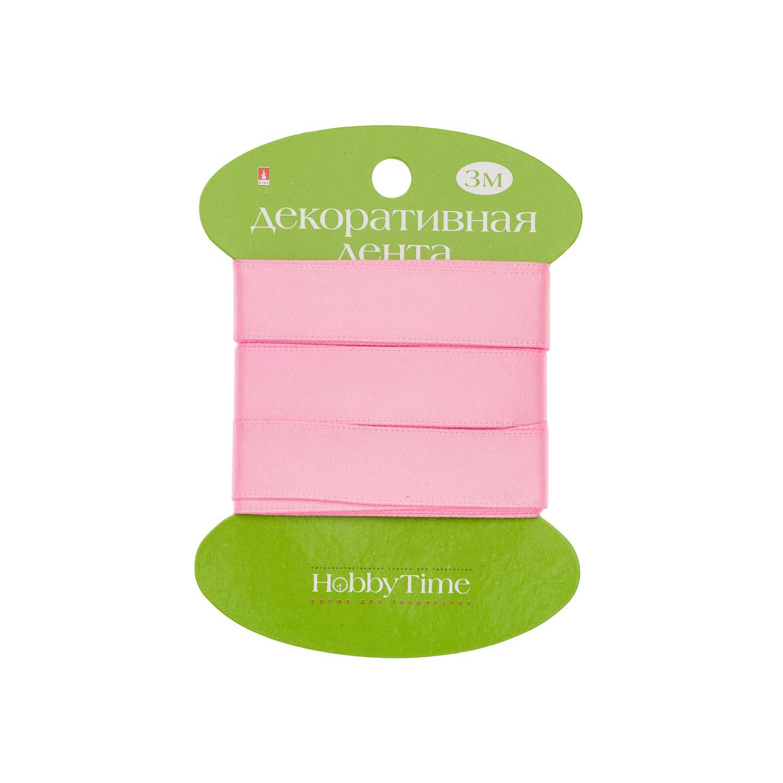 Лента атлас 15мм*3м розовая
