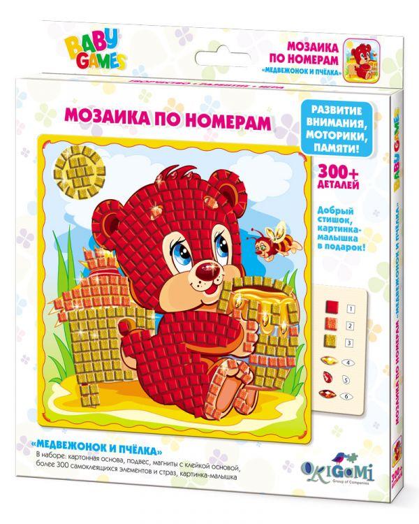 Творч Мозаика по номерам Медвежонок и Пчёлка 300 дет.