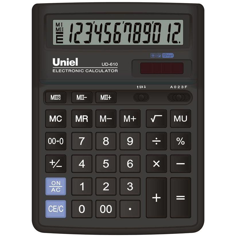 Калькулятор 12 разр. Uniel настольный черный
