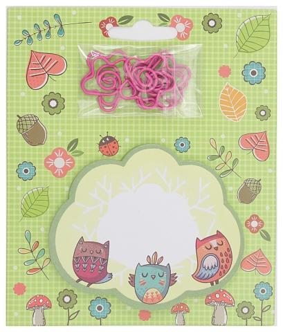 Блок липкий 30л Нежные совы фигурн+ скрепки 6шт в форме цветов