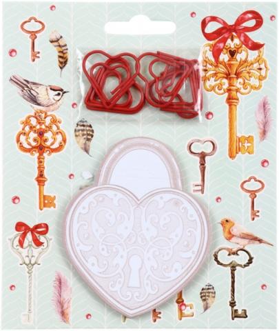 Блок липкий 30л Ключики фигурн+ скрепки 6шт в форме сердечек