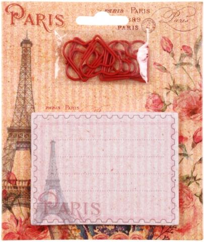 Блок липкий 30л Париж фигурн+ скрепки 6шт в форме сердечек