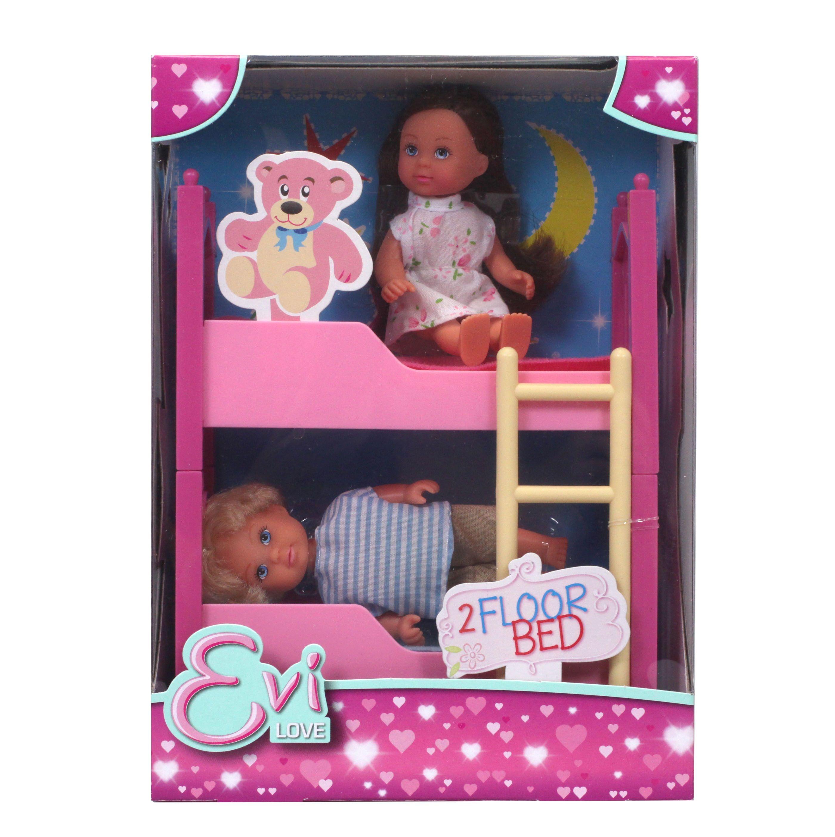 набор Кукла Еви с братиком, с двухъярусной кроваткой, 12см