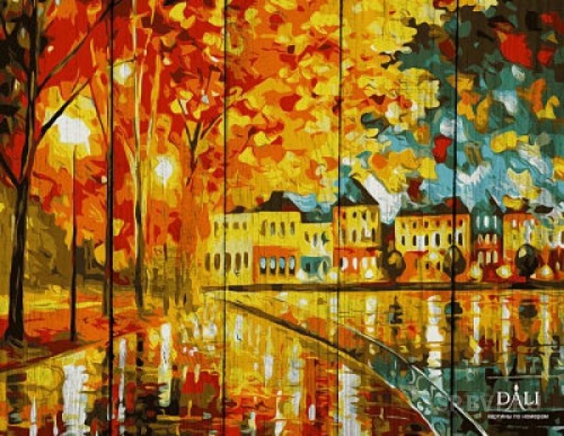 Рисование по номерам по Дереву 40х50 Осеннее настроение