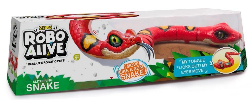 АКЦИЯ-20 Игр Робо-змея RoboAlive красная, работает на батар. 40*13*10см