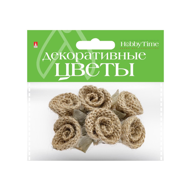 Декор Цветы из мешковины 4шт.