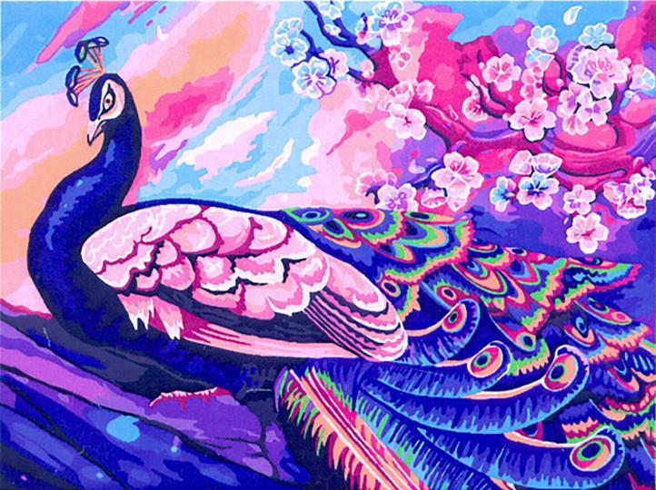 Творч Рисование по номерам 30Х40 Роскошный павлин