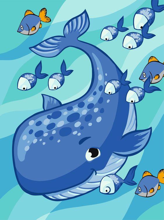 Творч Рисование по номерам 30Х40 Дружелюбный кит
