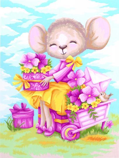 Творч Рисование по номерам 30Х40 Мышка цветочница