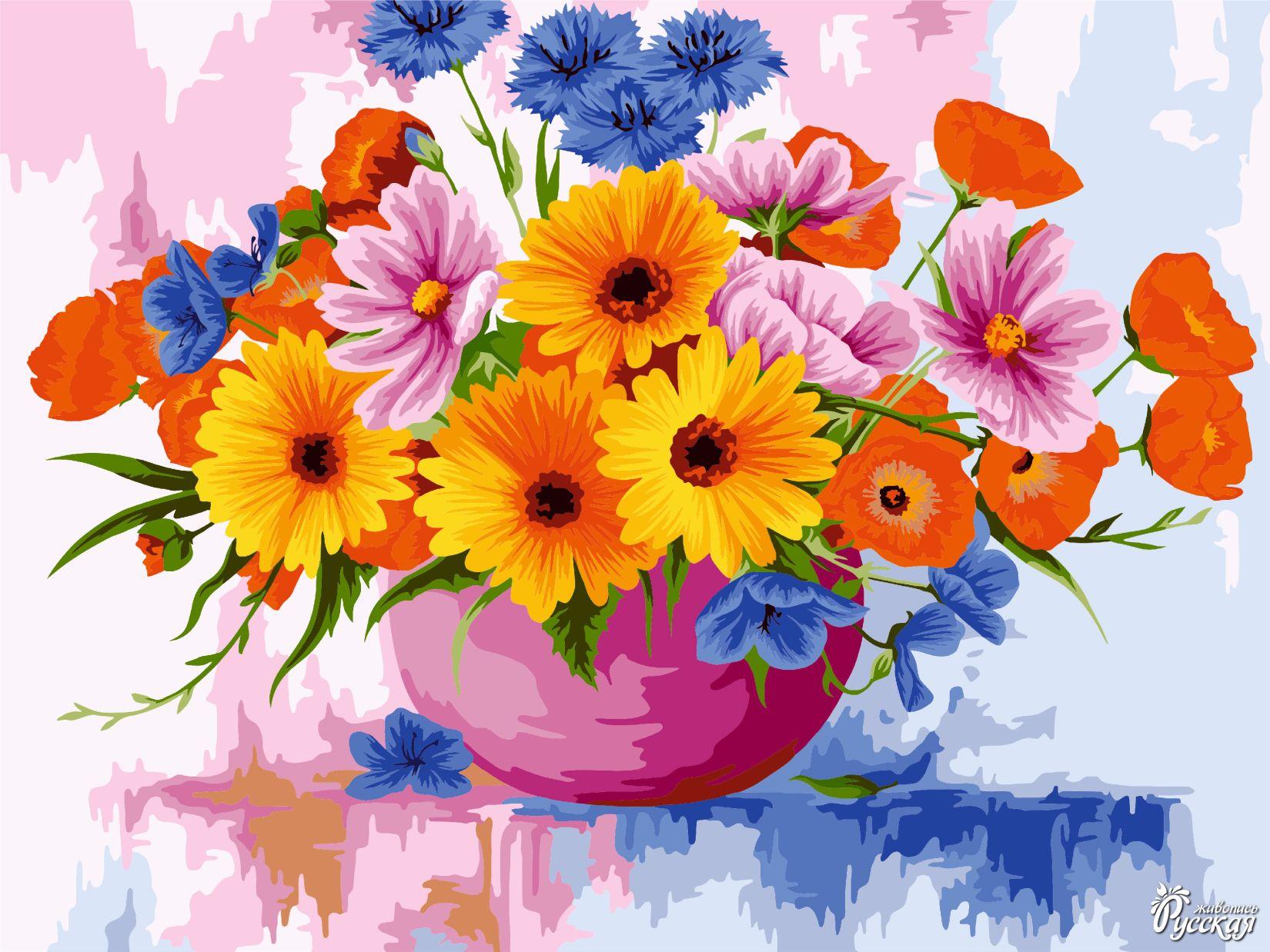Творч Рисование по номерам 40Х50 Полевые цветочки