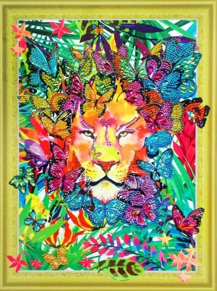 Творч Алмазная картина 30*40 Лев в бабочках с фигурными стразами