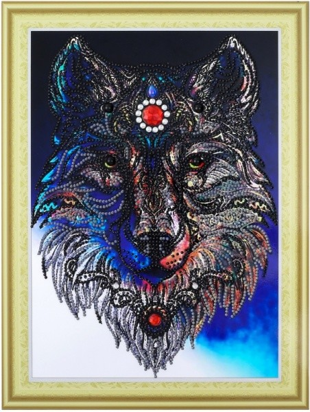 Творч Алмазная картина 30*40 Волчица с фигурными стразами