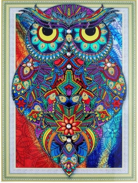 Творч Алмазная картина 30*40 Рубиновая сова с фигурными стразами