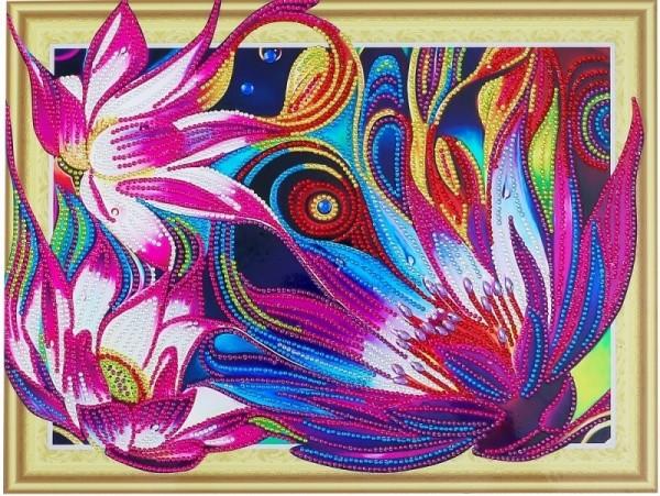 Творч Алмазная картина 30*40 Сказочные лотосы с фигурными стразами