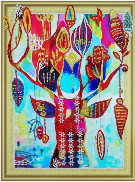 Творч Алмазная картина 30*40 Дерево желаний с фигурными стразами