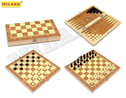 Настольная 3в1 Шахматы, нарды, шашки дерев (поле 24см) фигур пласт