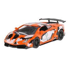 Машина Спорткар 12см металл откр.двери, инерц., оранжевая