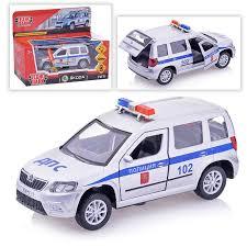 Машина SKODA YETI Полиция 12см, металл свет+звук, инерц.