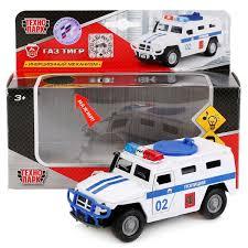 Машина Газ Тигр Полиция 13,7 см металл. инерц свет, звук