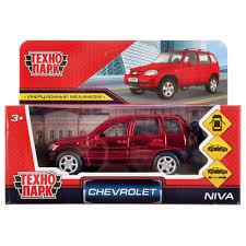 Машина Chevrolet niva хром 12см, металл открыв.двери, инерц., красная