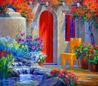 Творч Картина по номерам 30*40 Уютный дворик
