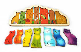 Игра Развивающая Доска Разноцветные котята (Радуга) (дерево)