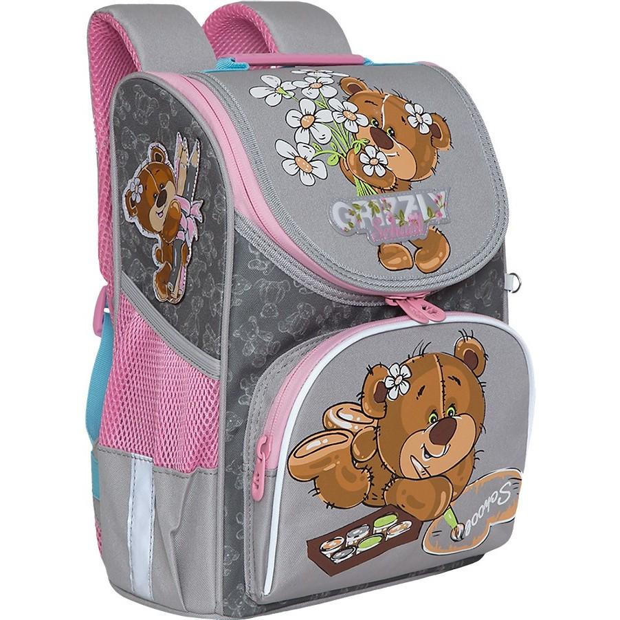 Ранец Grizzly Мишка с цветочком серый 25*33*13