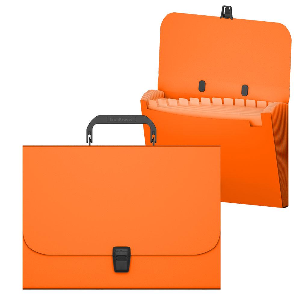 Портфель с ручкой 12отд EK Matt Neon оранжевый