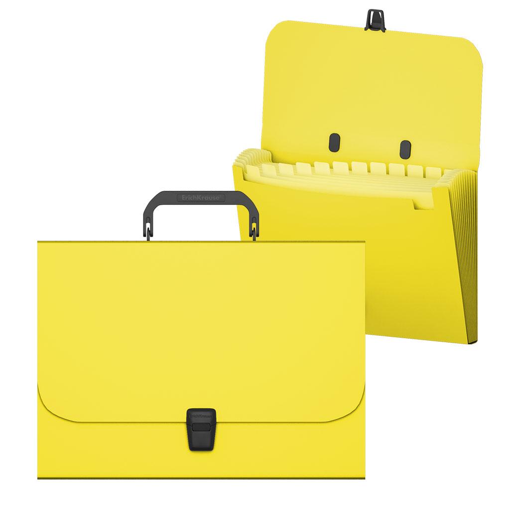 Портфель с ручкой 12отд EK Matt Neon желтый