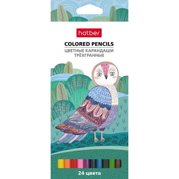 Карандаши цветные 24 цв Hatber Colora трехгран. к/к