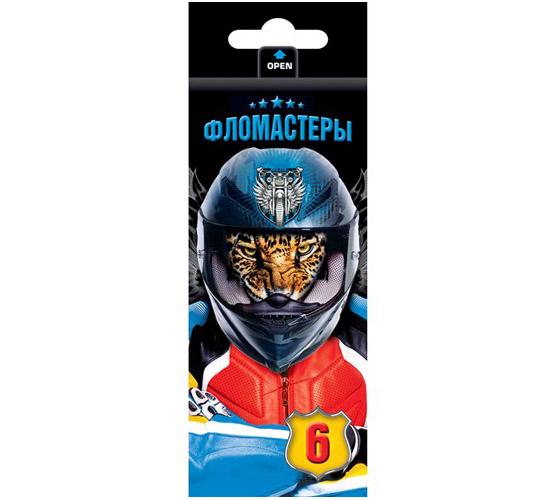 Фломастеры 6 цв Moto-beast к/к