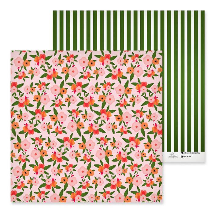 Бумага для скрапбукинга 30,5х30,5см Зеленое лето