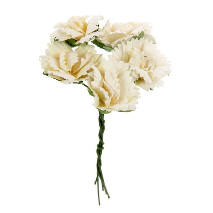 Цветы Гвоздики 5шт диам 2,5см белые