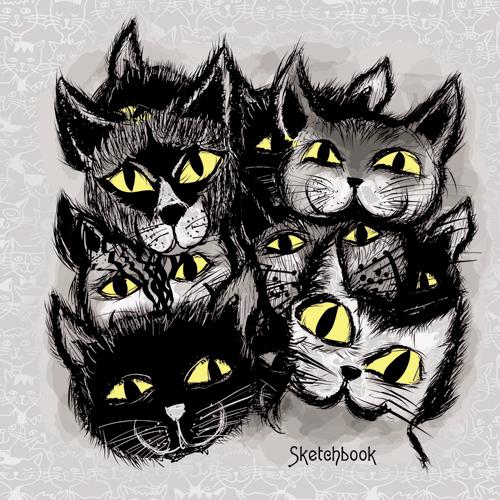 Тетрадь А5 80л нелин тв спир Черные коты графика скетчбук