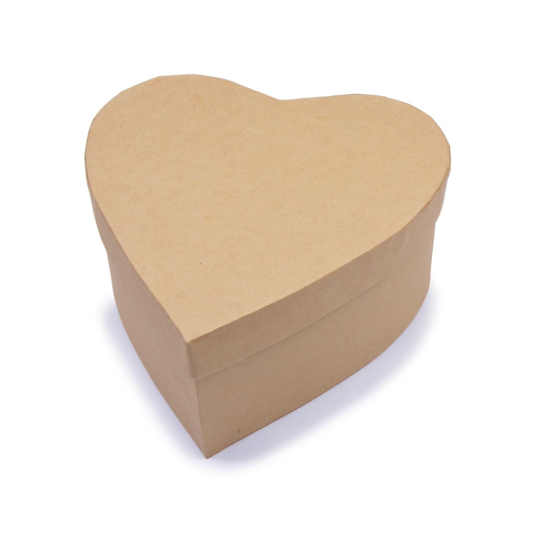 Творч Заготовка из картона Шкатулка Сердце 1шт 15x15x7 см