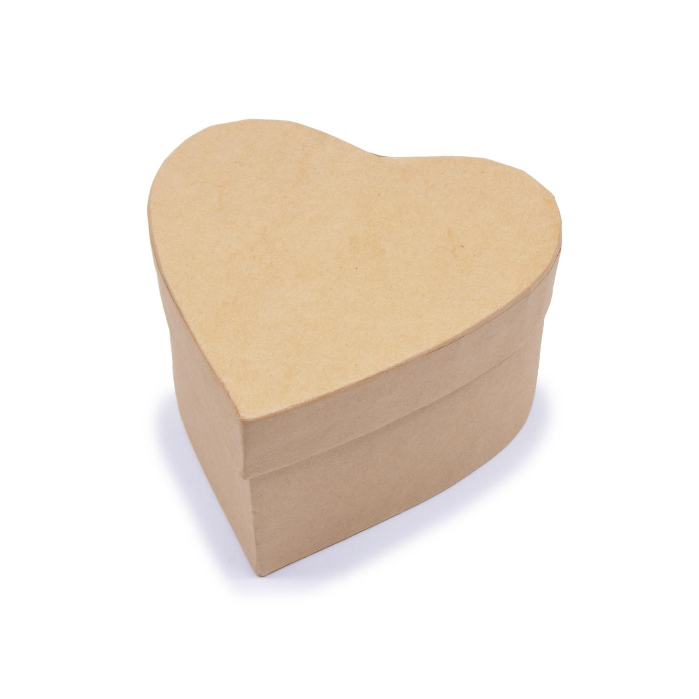Заготовка из картона Шкатулка Сердце 1шт 11x11x6см