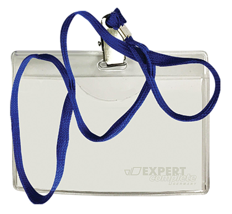 Бэйдж Expert Complete горизонтальный на шнурке прозрач метал клипса