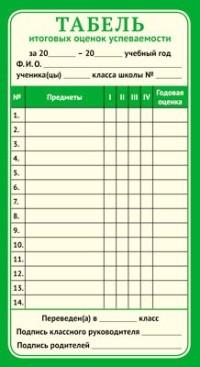 Табель итоговых оценок успеваемости А5 зеленая рамка