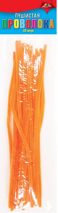 Проволока пушистая 30см 25шт оранжевая
