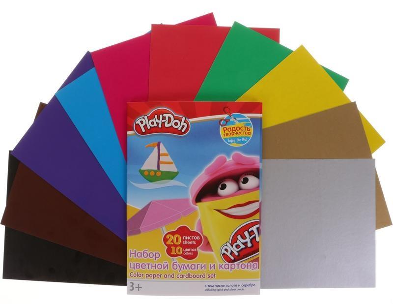 Картон цветной А4 10л 10цв + Цв. бумага А4 10л 10цв Play-Doh золото, с