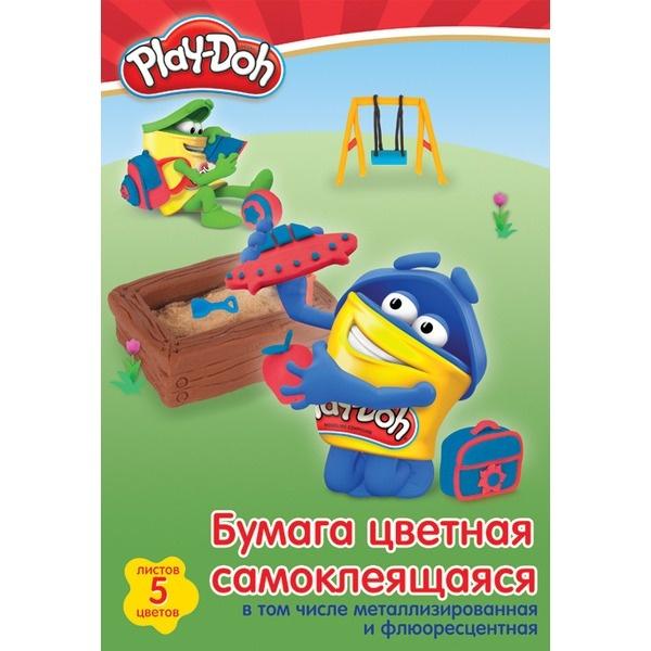 Цв. бумага А4 10л 10цв Play-Doh самоклеющ металлизир флюоресцент в пап