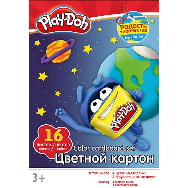 Картон цветной А4 16л 16цв Play-Doh 4 цвета металлик 4 флоресц в папке