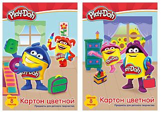 Картон цветной А4 8л 8цв мелов Play-Doh одност в папке