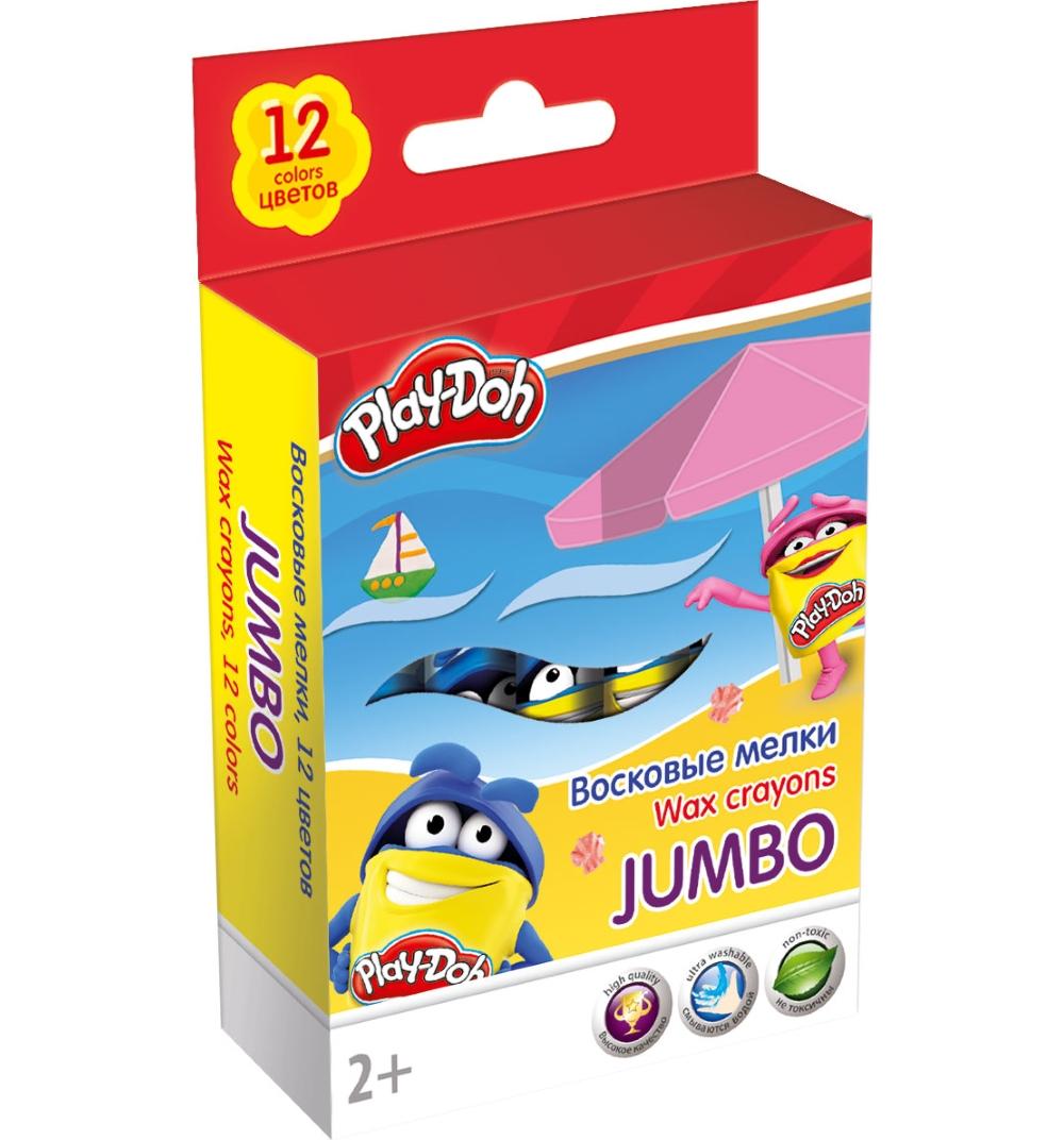 Мелки восковые 12 цв Play-Doh Jumbo толстые