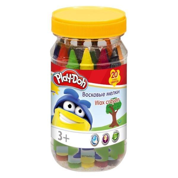 Мелки восковые 20цв Play-Doh пл/банка